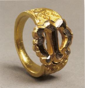 anillo de Maria de Borgoña.Oro, diamantes cortados.Flandes c.1477.Kunsthistoriches Museum, Viene